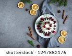 christmas pudding  fruit cake...   Shutterstock . vector #1247882176