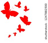 beautiful red butterflies ... | Shutterstock . vector #1247882500