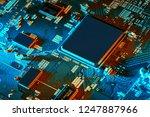 electronic circuit board close... | Shutterstock . vector #1247887966