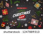 christmas postcard with vintage ... | Shutterstock .eps vector #1247889313