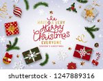 christmas postcard with vintage ... | Shutterstock .eps vector #1247889316