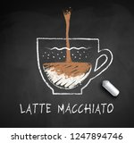 vector sketch of latte... | Shutterstock .eps vector #1247894746