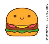 vector cartoon cute burger icon ... | Shutterstock .eps vector #1247894899