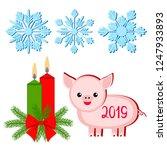 christmas set  snowflakes  pig  ...   Shutterstock .eps vector #1247933893