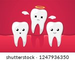 tooth isolated on a red... | Shutterstock .eps vector #1247936350
