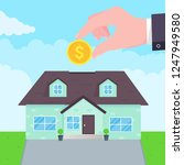 hand puts coin in the house...   Shutterstock .eps vector #1247949580