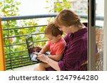 happy grandmother with grandson ... | Shutterstock . vector #1247964280
