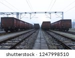old train wagons parked in the... | Shutterstock . vector #1247998510