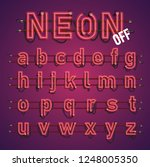realistic neon font with wires... | Shutterstock .eps vector #1248005350