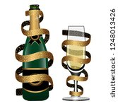 champagne bottle and glass of... | Shutterstock .eps vector #1248013426