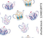 all teapots cute abstract... | Shutterstock .eps vector #1248018973