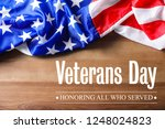 text veterans day and usa flag... | Shutterstock . vector #1248024823