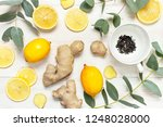 fresh ginger root  cup tea with ... | Shutterstock . vector #1248028000