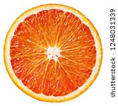 Top view of ripe slice blood red orange citrus fruit isolated on white background with clipping path - stock photo