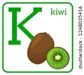 an alphabet with cute fruits ...   Shutterstock . vector #1248035416