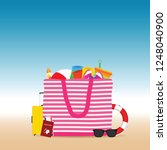 travel icon with bech bag... | Shutterstock .eps vector #1248040900