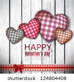 red cloth handmade hearts on... | Shutterstock .eps vector #124804408