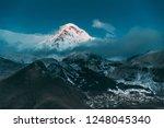 stepantsminda  georgia. peak of ... | Shutterstock . vector #1248045340