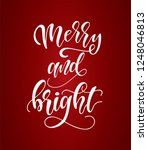 hand sketched merry and bright... | Shutterstock .eps vector #1248046813