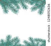 fir branch border. winter... | Shutterstock .eps vector #1248052636