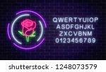 glowing rose neon sign of... | Shutterstock .eps vector #1248073579