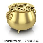 Pot Of Gold Coins Isolated On...