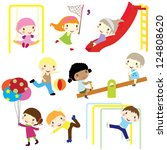 children actively playing in... | Shutterstock .eps vector #124808620