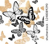 gold and black butterflies on a ... | Shutterstock .eps vector #1248089290