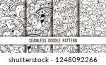 collection of funny doodle... | Shutterstock .eps vector #1248092266