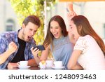 three excited friends... | Shutterstock . vector #1248093463