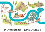 trail map. tourists hiking... | Shutterstock .eps vector #1248093616