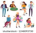 addicted people. bad habits... | Shutterstock .eps vector #1248093730