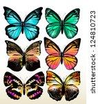 Stock vector set of realistic vector butterflies 124810723