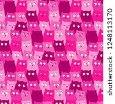 repetitive pattern of pink cats | Shutterstock .eps vector #1248113170