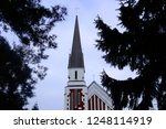 beautiful building with a spire ... | Shutterstock . vector #1248114919