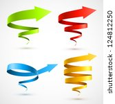 Set of colorful spiral arrows 3D.