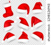 christmas santa claus hats with ... | Shutterstock .eps vector #1248126943