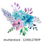 watercolor illustration on... | Shutterstock . vector #1248127849