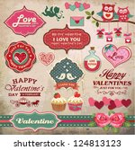 valentine's day labels  icons... | Shutterstock .eps vector #124813123