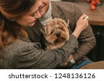 the favourite pet. man and a... | Shutterstock . vector #1248136126