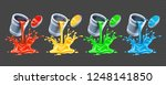color paints pouring from tins... | Shutterstock .eps vector #1248141850