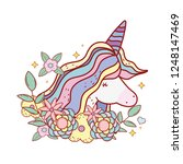 cute fairytale unicorn with... | Shutterstock .eps vector #1248147469