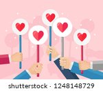 people with like  heart icon in ... | Shutterstock .eps vector #1248148729