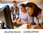 group of students working in... | Shutterstock . vector #124814944