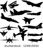 military airplanes collection   ... | Shutterstock .eps vector #124815034
