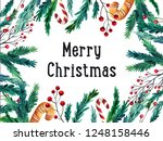 watercolor colorful christmas...   Shutterstock . vector #1248158446