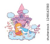 mermaid with unicorn and castle ... | Shutterstock .eps vector #1248162583