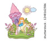 mermaid with unicorn and castle ... | Shutterstock .eps vector #1248162586