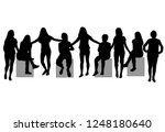 women silhouettes. vector work. | Shutterstock .eps vector #1248180640