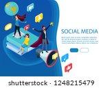 isometric flat social media... | Shutterstock .eps vector #1248215479